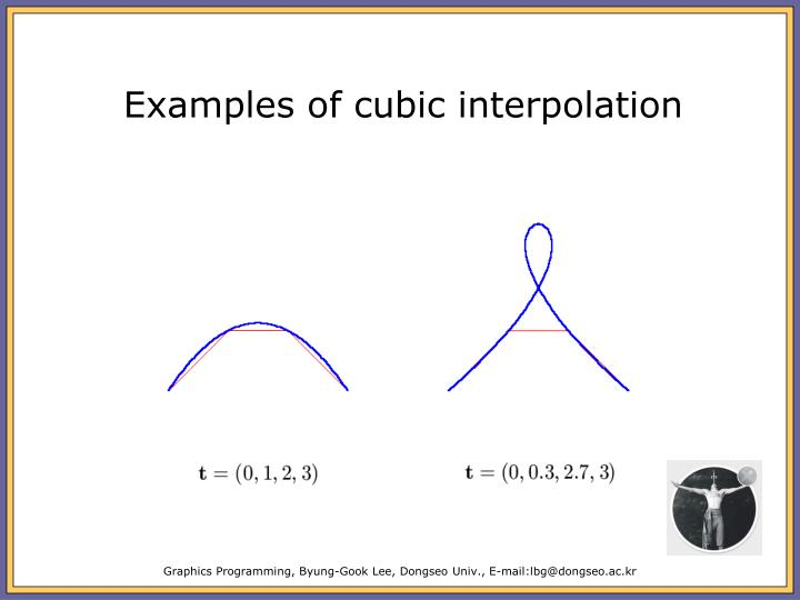 Examples of cubic interpolation
