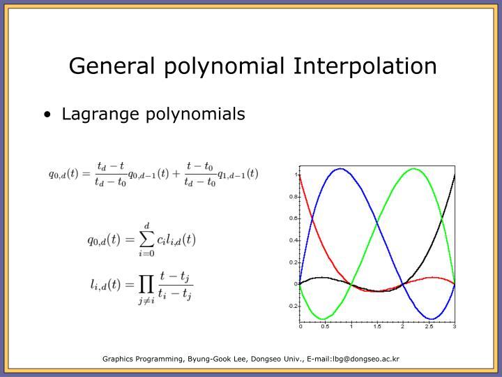 General polynomial Interpolation