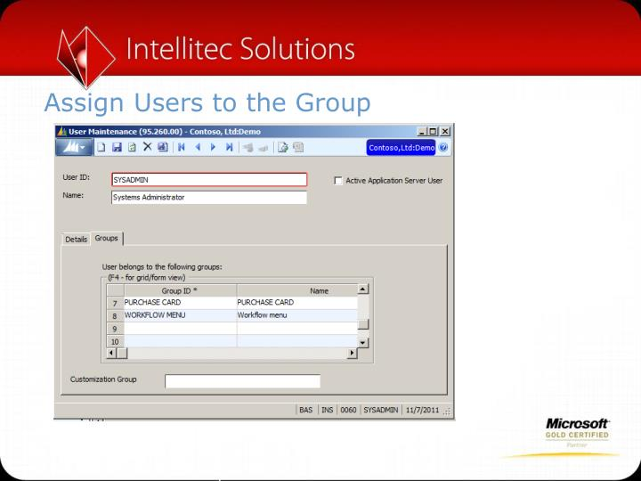 Assign Users to the Group