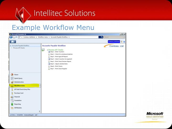 Example Workflow Menu