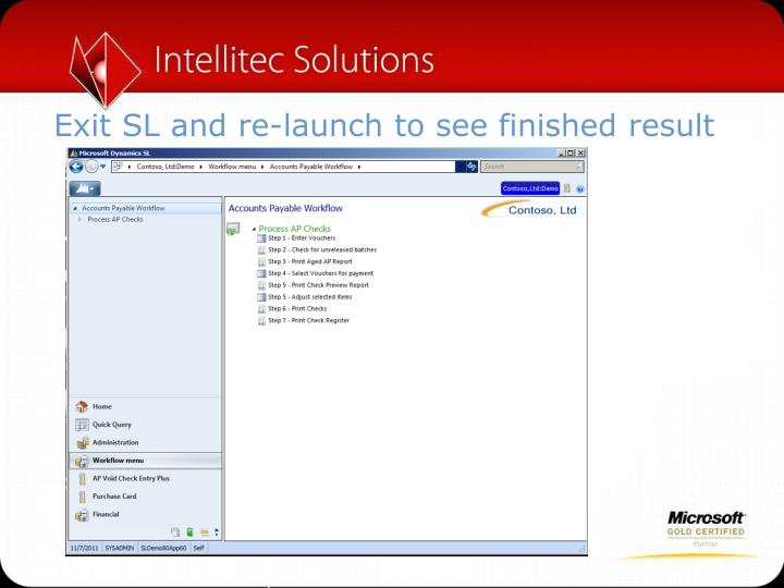 Exit SL and re-launch to see finished result