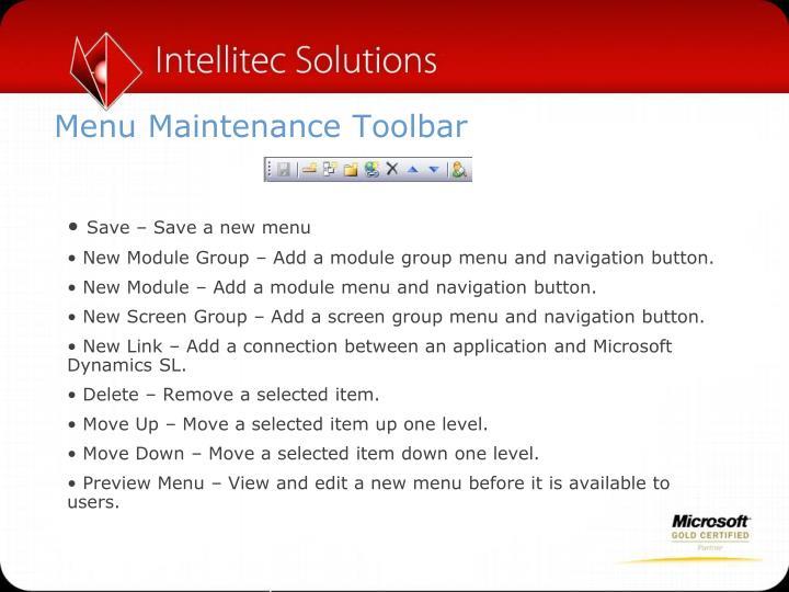 Menu Maintenance Toolbar