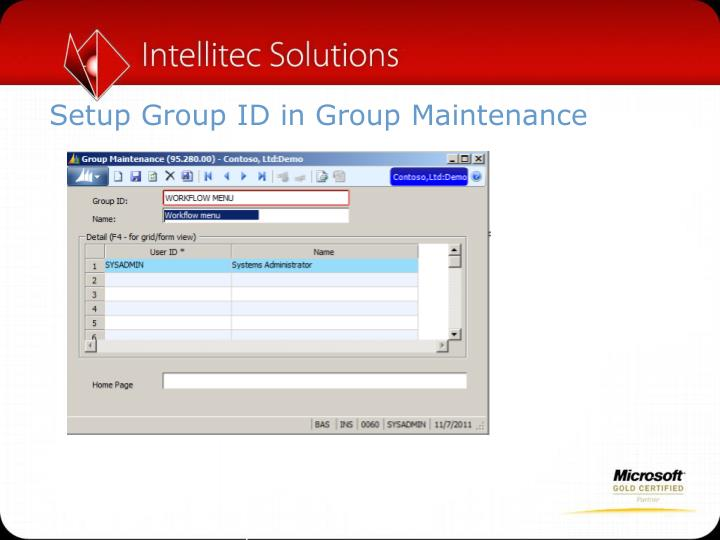 Setup Group ID in Group Maintenance