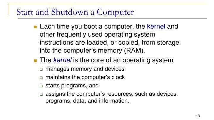 Start and Shutdown a Computer