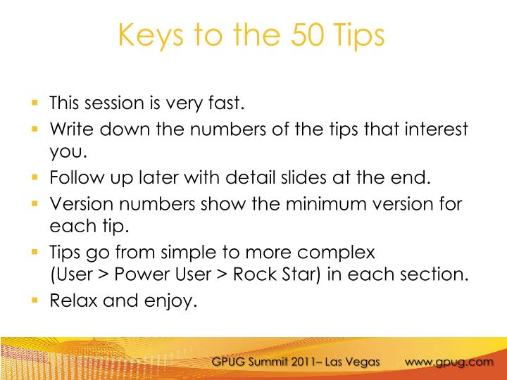 Keys to the 50 tips