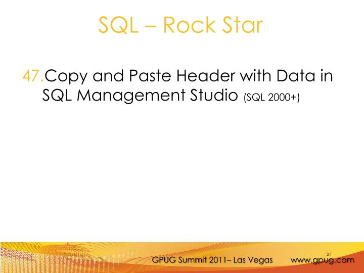 Copy and Paste Header with Data in SQL Management