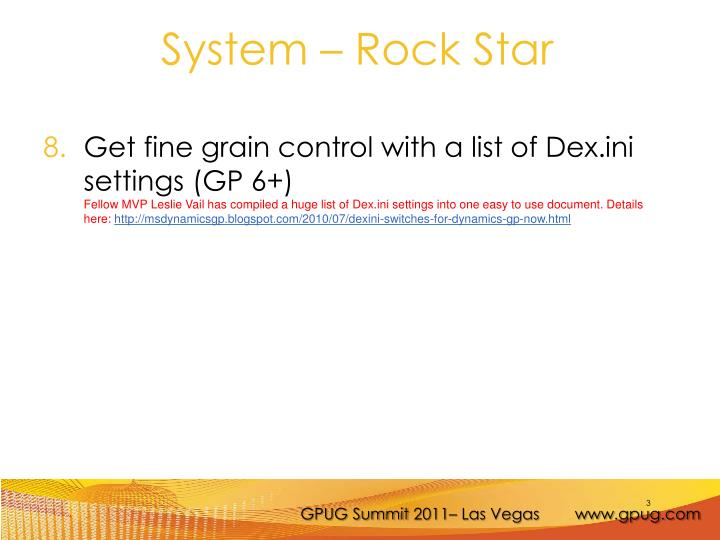 Get fine grain control with a list of Dex.ini settings (GP 6+)