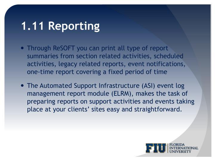 1.11 Reporting