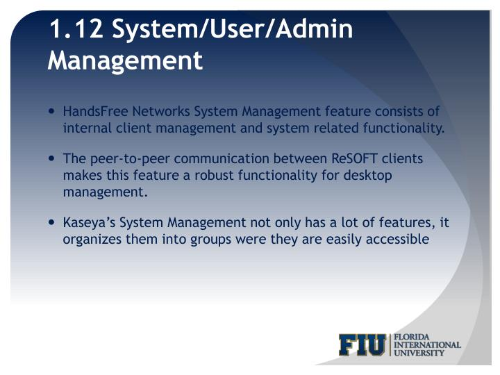1.12 System/User/Admin Management