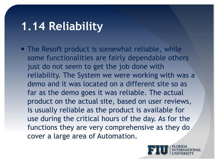 1.14 Reliability