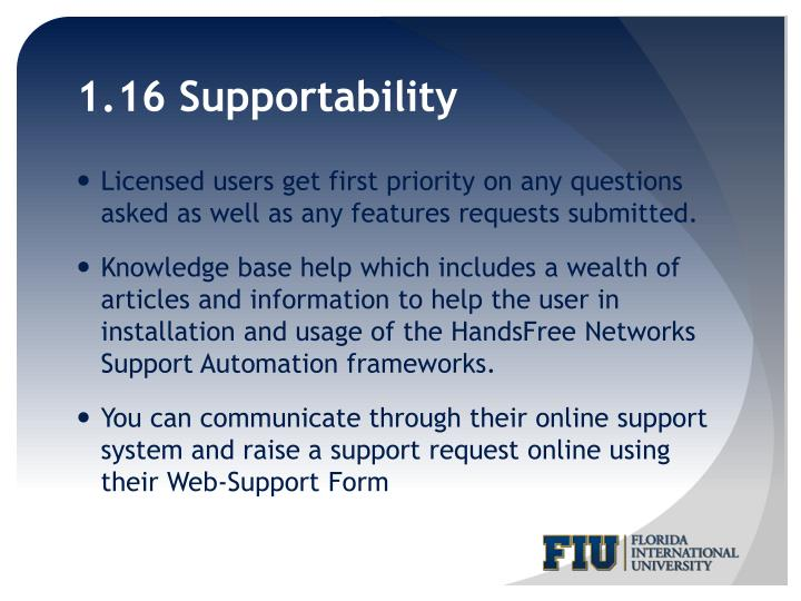 1.16 Supportability