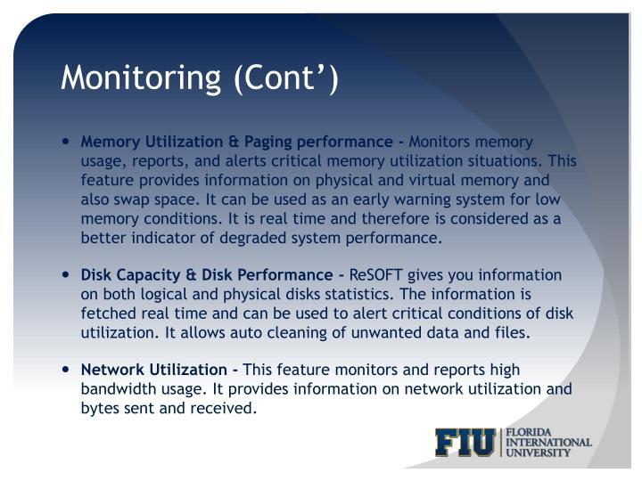 Monitoring (Cont')