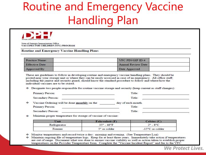 Routine and Emergency Vaccine Handling Plan
