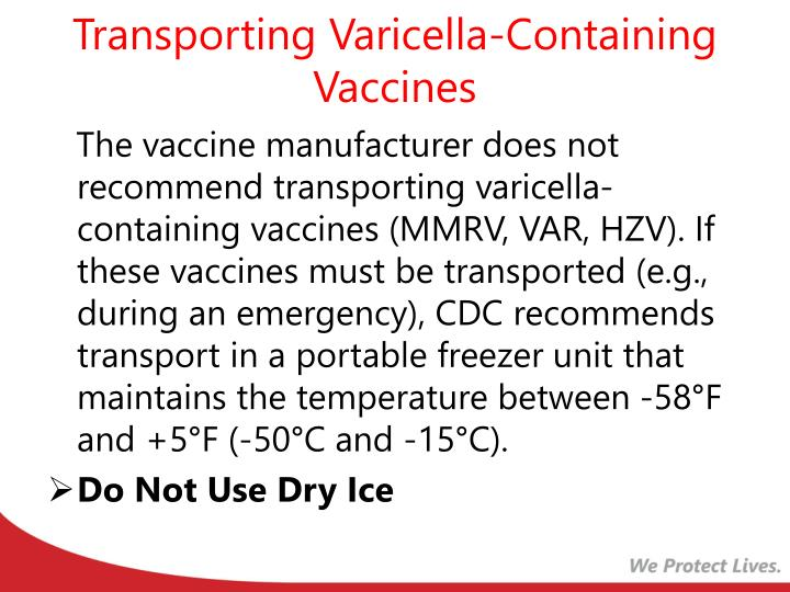 Transporting Varicella-Containing Vaccines