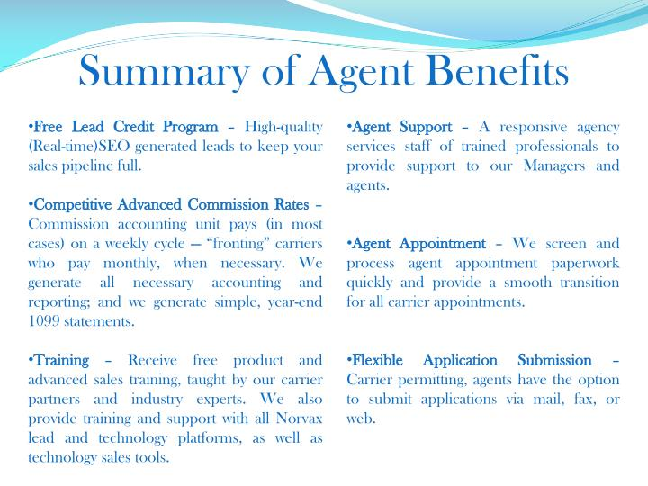 Summary of Agent Benefits