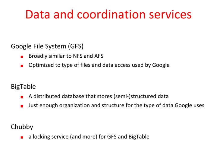Data and coordination services