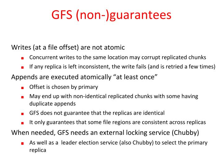GFS (non-)guarantees