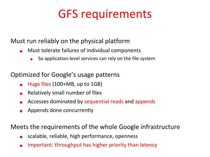 GFS requirements