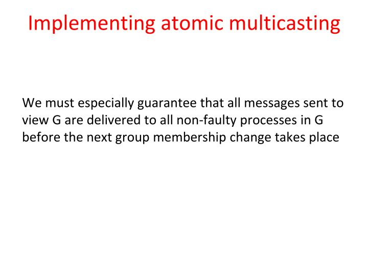 Implementing atomic multicasting