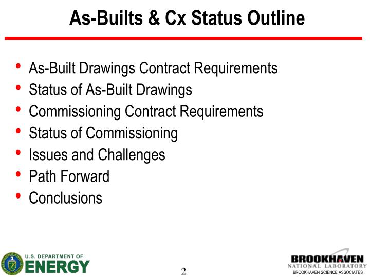 As builts cx status outline