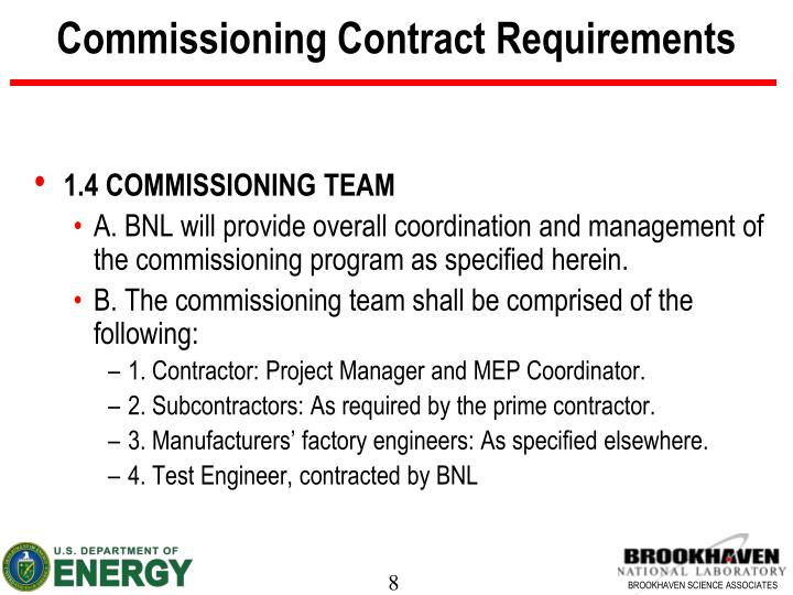Commissioning Contract Requirements