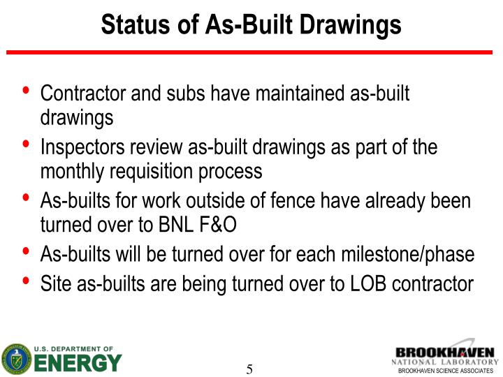 Status of As-Built Drawings
