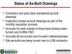 status of as built drawings
