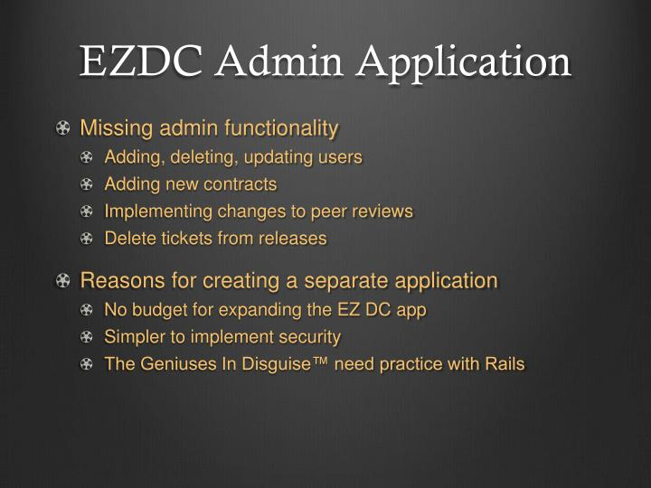 EZDC Admin Application