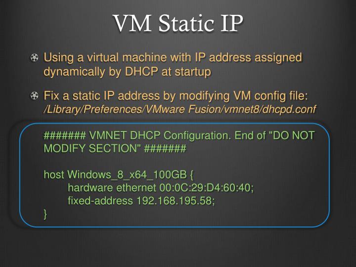 VM Static IP
