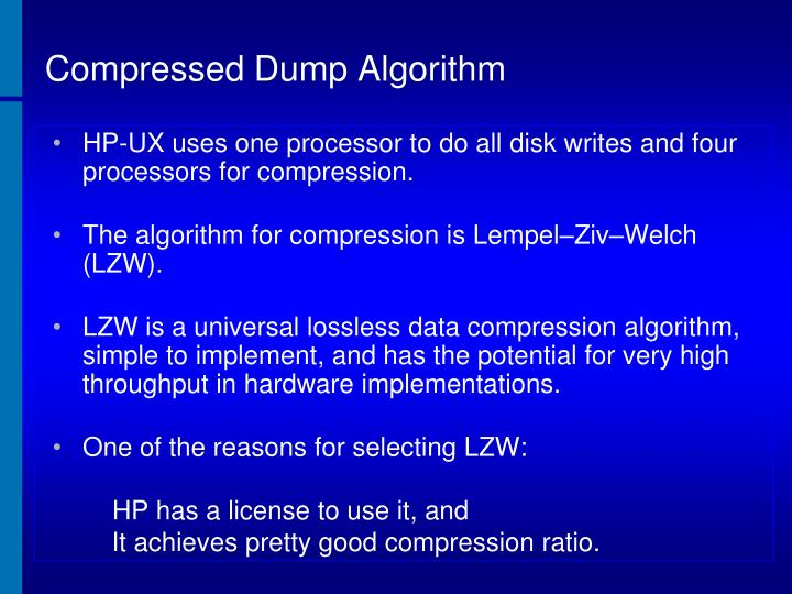 Compressed Dump Algorithm