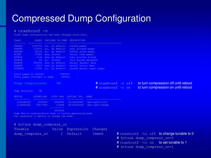 Compressed Dump Configuration