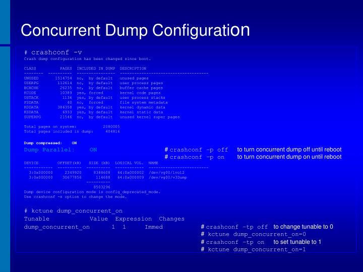 Concurrent Dump Configurati