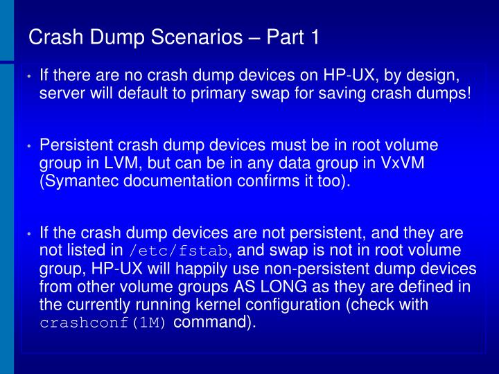 Crash Dump Scenarios – Part 1