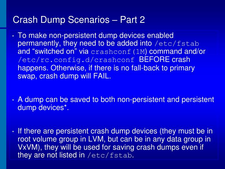 Crash Dump Scenarios – Part 2