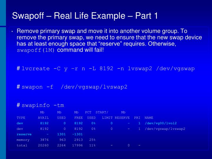 Swapoff – Real Life Example – Part 1