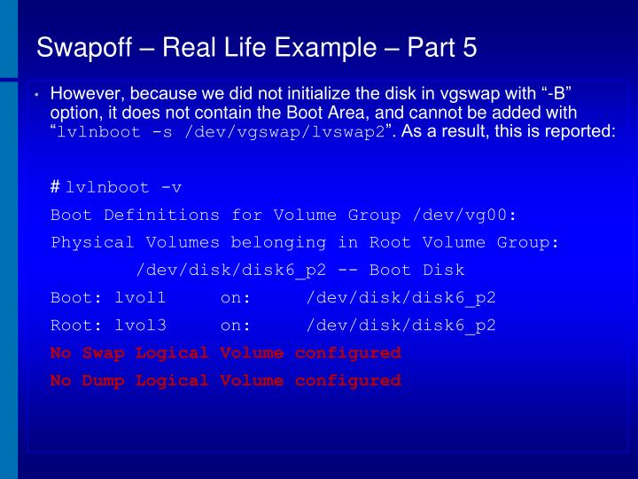 Swapoff – Real Life Example – Part 5