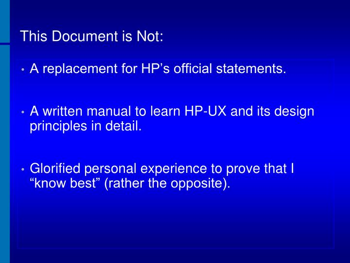 This Document is Not: