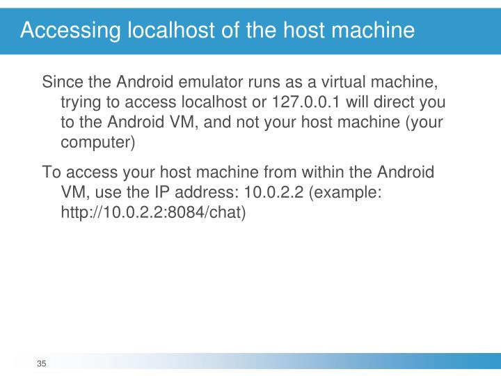 Accessing localhost of the host machine