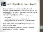 next steps from boise con t1