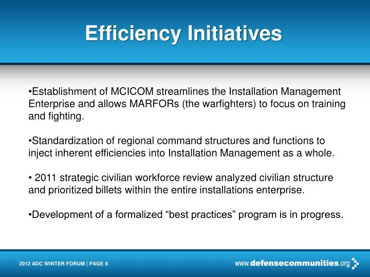 Efficiency Initiatives