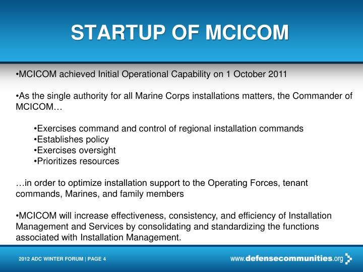 STARTUP OF MCICOM
