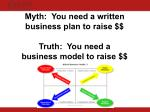 myth you need a written business plan to raise truth you need a business model to raise
