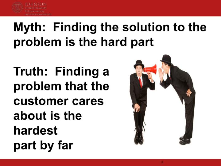 Myth:  Finding the solution to the problem is the hard