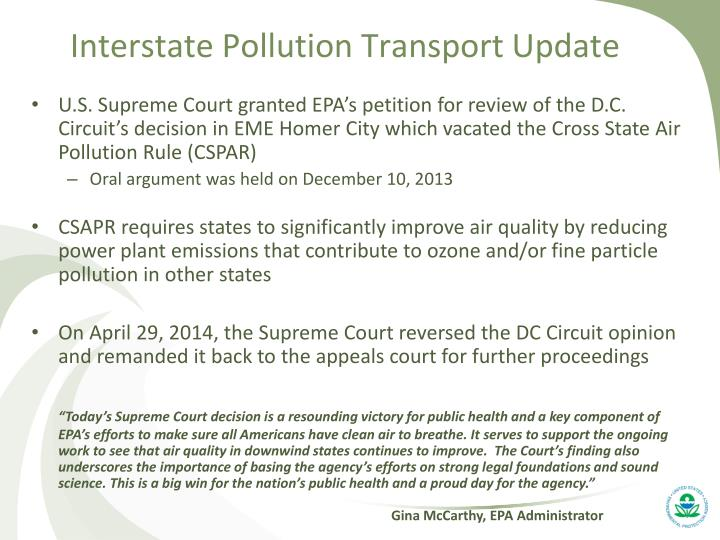 Interstate Pollution Transport Update