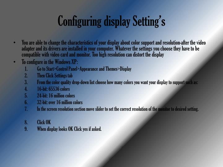 Configuring display Setting's