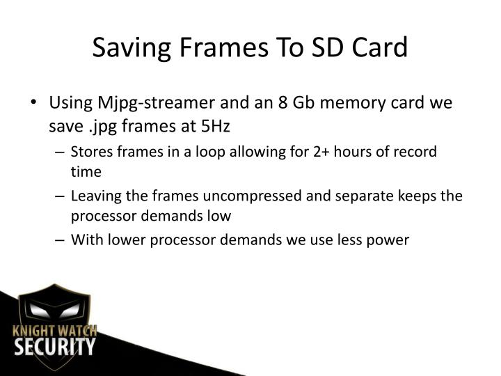 Saving Frames To SD Card