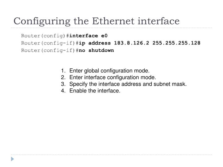 Configuring the Ethernet interface