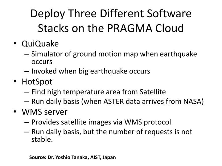 Deploy Three Different Software Stacks on the PRAGMA Cloud