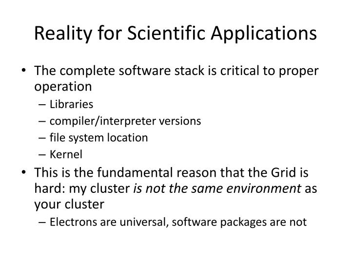 Reality for Scientific Applications