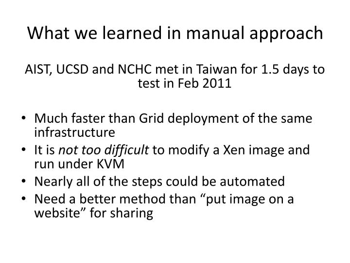 What we learned in manual approach